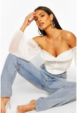 Ivory Off The Shoulder Corset Style Top