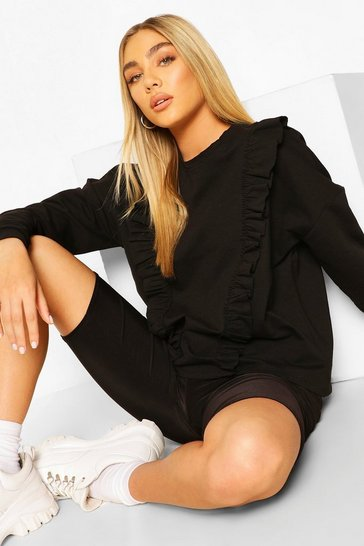 Black Frill Trim Sweater