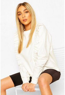 Ivory Frill Trim Sweater