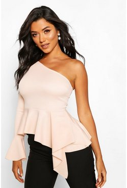 Blush Peplumtopp i one shoulder-modell med klockärm