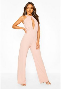 Rose High Neck Ruched Front Wide Leg Jumpsuit