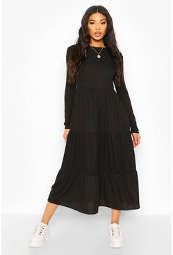 Black Rib Tiered Midaxi Dress