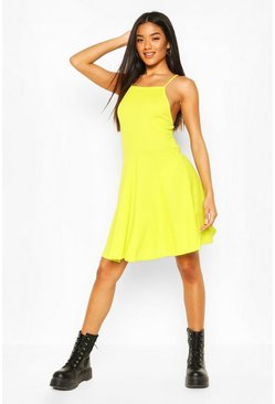 Lime Rib High Neck Skater Dress