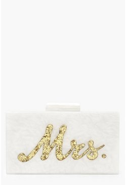 Gold Premium Mrs. Box Clutch Bag & Chain