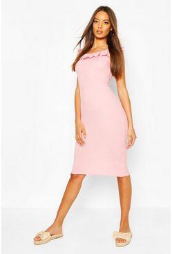 Soft pink Rib Ruffle Trim Bodycon Mini Dress