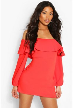Orange Off The Shoulder Puffball Shift Dress