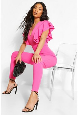 Hot pink Extreme Ruffle Plunge Jumpsuit