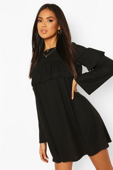Rib Large Ruffle Smock Dress