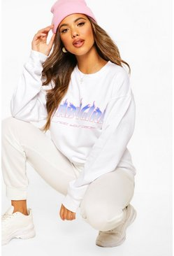 White Baby Girl Flame Slogan Oversized Sweatshirt