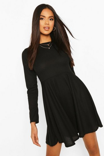 Black Rib Slash Neck Skater Dress