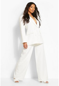 White Wide Leg Belted Trousers