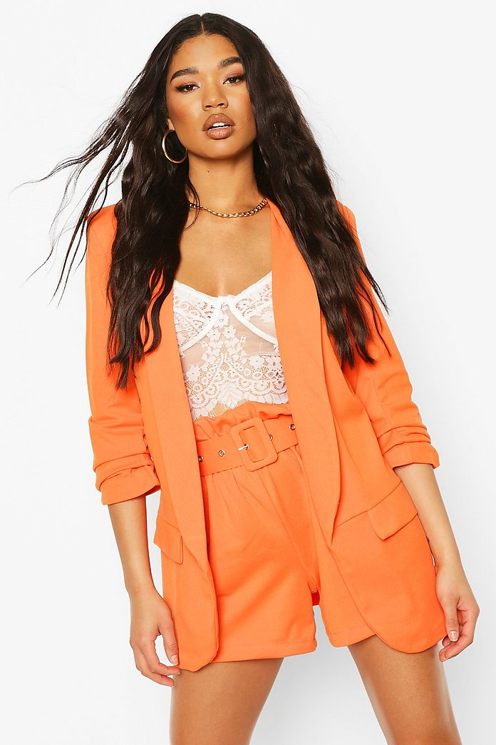 Woven Tailored Ruched Sleeve Blazer
