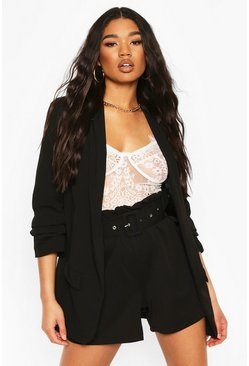 Black Tailored Paper Bag Belted Shorts