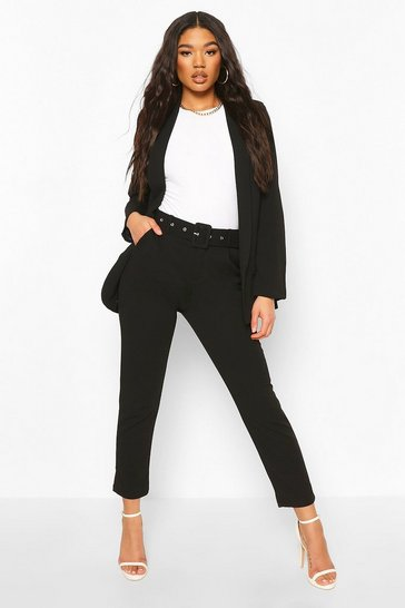 Black Self Belt Tailored Trousers