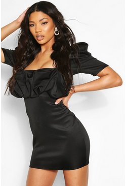 Black Recycled Puff Sleeve Scrunched Mini Dress