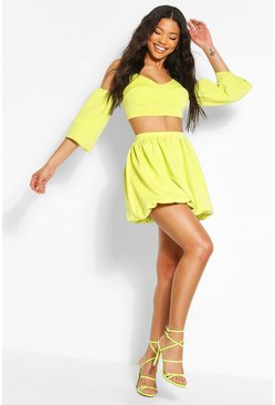 Lime Puff Sleeve Cold Shoulder Cup Detail Crop Top