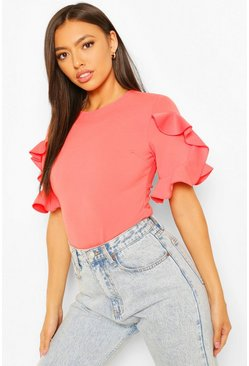 Coral Extreme Ruffle Sleeve Top