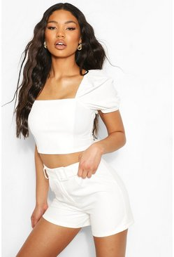 White Puff Sleeve Longline Crop Top