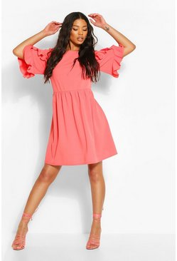 Coral Extreme Ruffle Sleeve Smock Dress