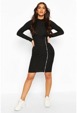 Black Turtle Neck Midi Dress With Zip Split