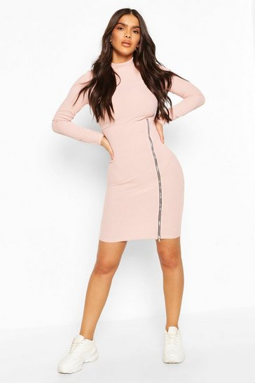 Blush Turtle Neck Midi Dress With Zip Split