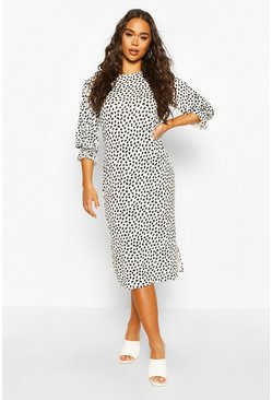 White Dalmatian Print Puff Sleeve Midi Dress