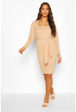 Stone Ribbed Square Neck Belted Midi Dress