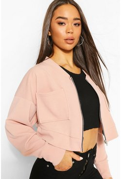 Stone Batwing Pocket Detail Bomber Jacket