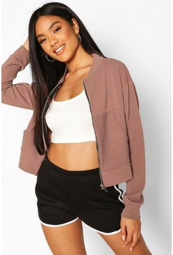 Mocha Pocket Detail Bomber Jacket