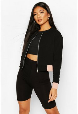 Black Contrast Panel Bomber