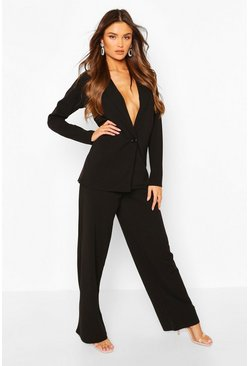 Black Oversized Blazer & Wide Leg Pants Suit Set