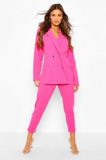 Hot pink Double Breasted Blazer & Trouser Suit Set