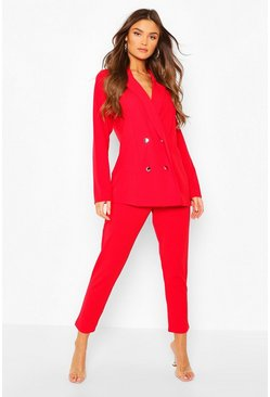 Red Double Breasted Blazer & Trouser Suit Set