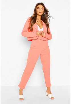 Coral Crop Blazer & Self Fabric Belt Trouser Suit Set