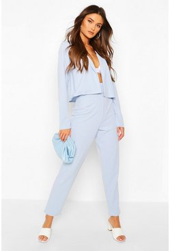 Pale blue Crop Blazer & Self Fabric Belt Trouser Suit Set
