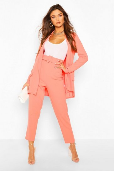 Coral Tailored Blazer & Self Fabric Belt Trouser Suit Set