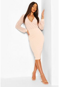 Nude Polka Dot Mesh Sleeve Wrap Midi Dress
