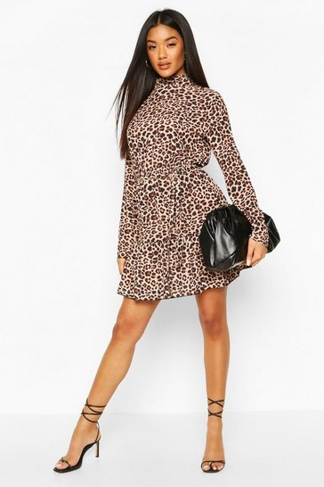 Brown Leopard Print High Neck Skater Dress