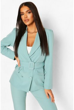 Turquoise Double Breasted Belted Blazer