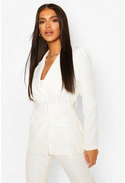 White Double Breasted Belted Blazer