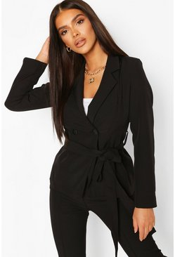 Black Tie Waist Detail Tailored Blazer