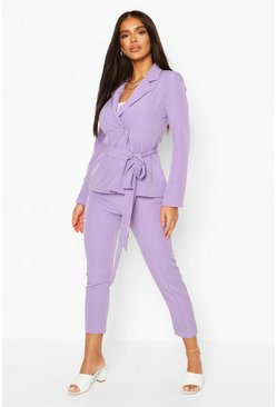 Lilac Tie Waist Detail Tailored Blazer