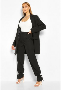 Black Tie Hem Detail Dress Pants