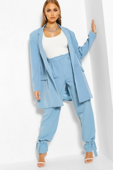 Sky Tie Hem Detail Tailored Trouser
