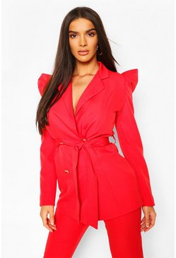 Red Puff Shoulder Double Breasted Tailored Blazer
