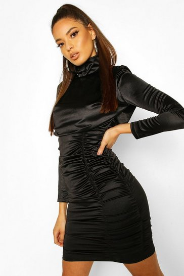Black Satin Ruched Belted Mini Dress
