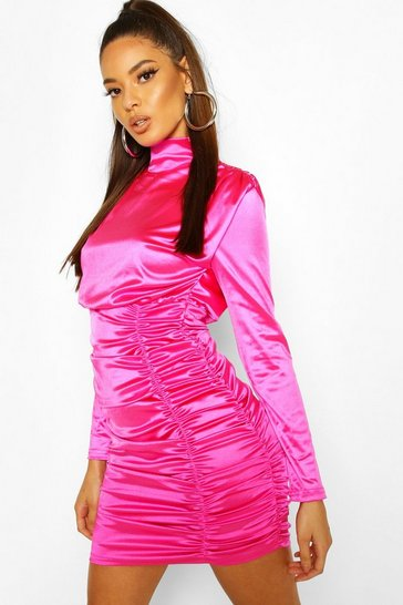 Fuchsia Satin Ruched Belted Mini Dress