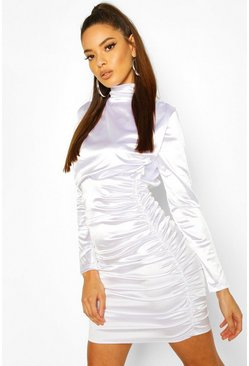 White Satin Ruched Belted Mini Dress