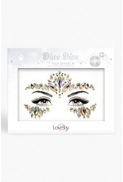 Silver Disco Diva Iridescent Face Gems