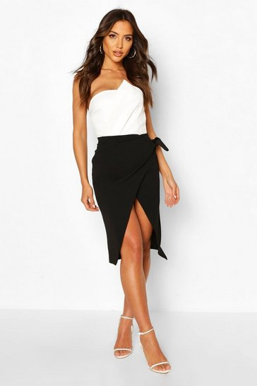 Black Wrap Front Tie Midi Skirt